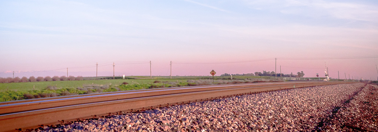 train track at sunset